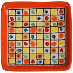 Guido Gambone Ceramic Italian Modernist Abstract Polychrome Pottery Tray Plate