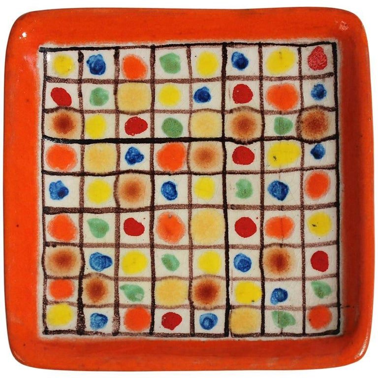 Guido Gambone Ceramic Italian Modernist Abstract Polychrome Pottery Tray Plate For Sale