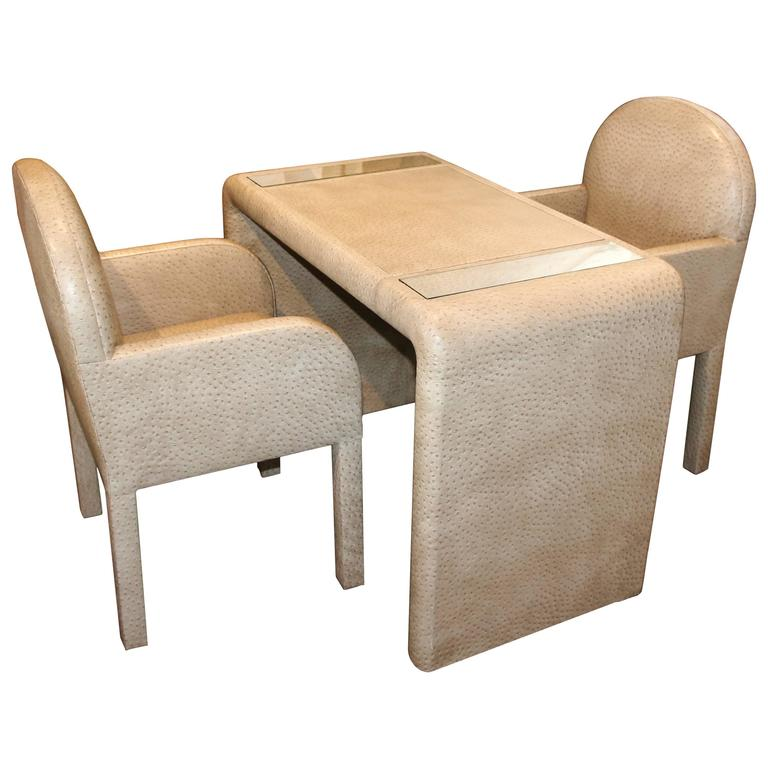 ostrich grained game table with matching chairs at 1stdibs five chairs restaurant lenox ma five chairs lenox