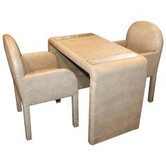 Ostrich Grained Game Table with Matching Chairs
