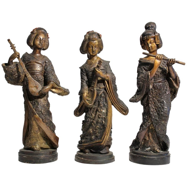 Japanese Geisha Girl, Cold Paint Art Sculptures Figurines Set of Three For Sale