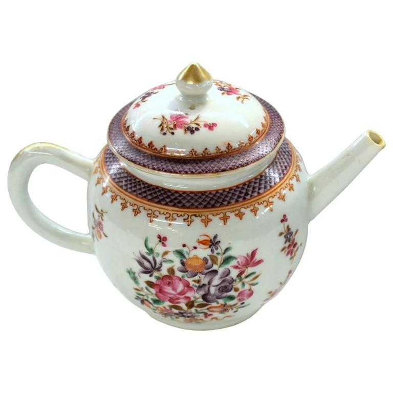 Antique Chinese Export Porcelain Famille Rose Decor Globular Teapot For Sale