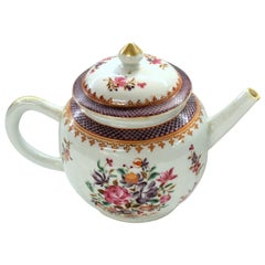 Antique Chinese Export Porcelain Famille Rose Decor Globular Teapot