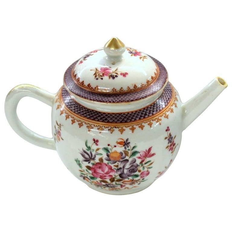 Antique Chinese Export Porcelain Famille Rose Decor Globular Teapot For Sale
