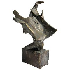 Mexican Listed Artist James Pinto Abstract Bronze Sculpture, circa 1960s