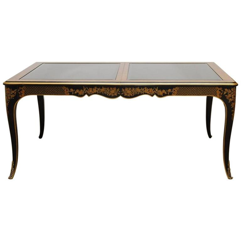 Drexel Et Cetera Black Lacquer Chinoiserie Dining Table For