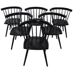 Set of Six Black Nakashima for Knoll N19 Straight Dining Chairs