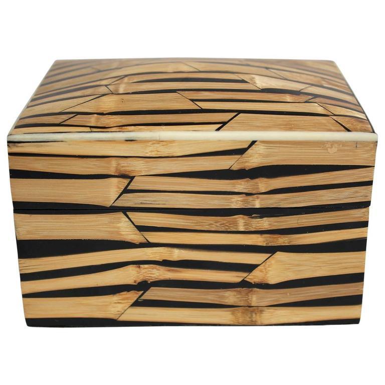 1990s R & Y Augousti Bamboo Lidded Box Signed, Paris