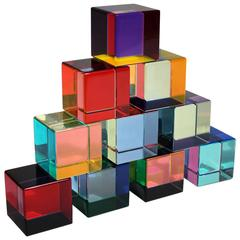 1990 Vasa Mihich Collection of Ten Acrylic Sculpture Cubes Edition of 50