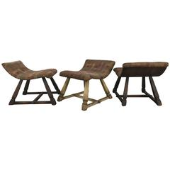 Unusual Set of Three Oak and Fabric Parlor Fireside Stools/Benches, Romweber