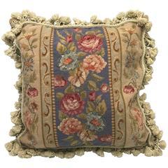 1970s Floral Motif Needlepoint Pillow with Tassel Fringe and Velvet Backing