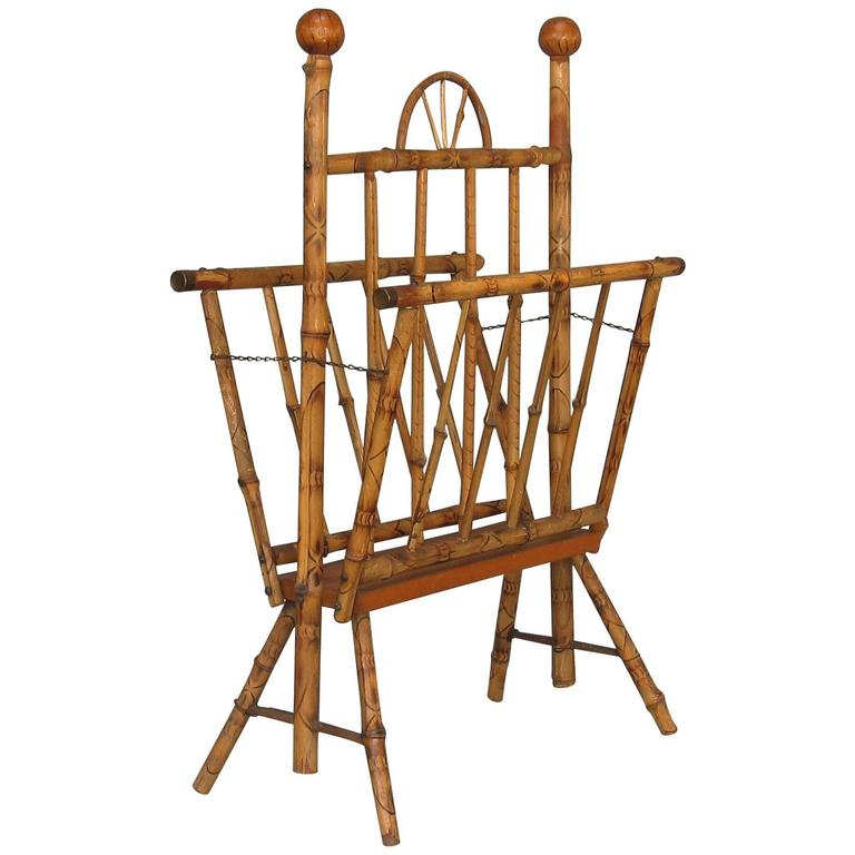 Antique American Bamboo Folding Magazine Rack