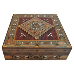 Syrian Walnut Wood Box Inlaid with Mother-of-Pearl, Cream Leather Lining