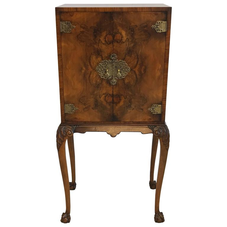 19th Century Maple Burl Wood Bar Cabinet For Sale