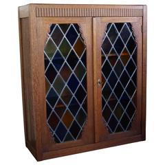 Small Handcrafted Art Deco 1930s Bookcase with Stunning Stained Glass Windows