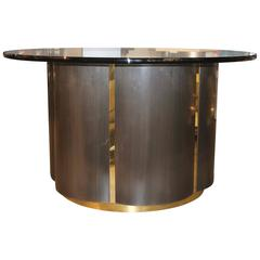 Unusual Brushed Steel and Brass Clover Shaped Table