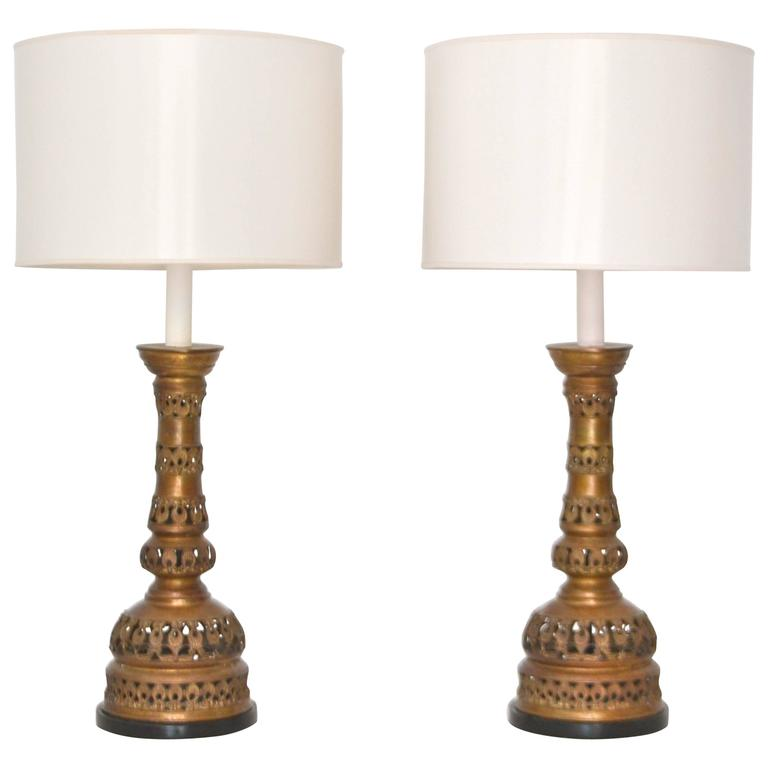 Pair of  Mid-Century Brass Candlestick Table Lamps