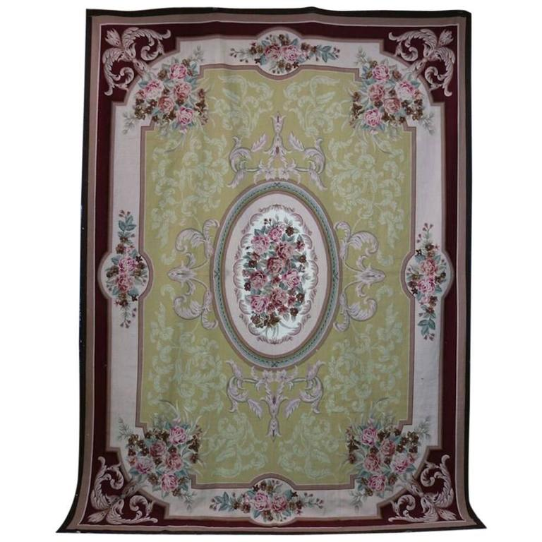 Large Aubusson Rug: Large Antique French Floral Aubusson Rug, Rinceaux And
