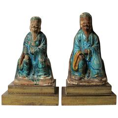 Pair of Chinese Ming Dynasty Ceramic Sculptures of Confucius