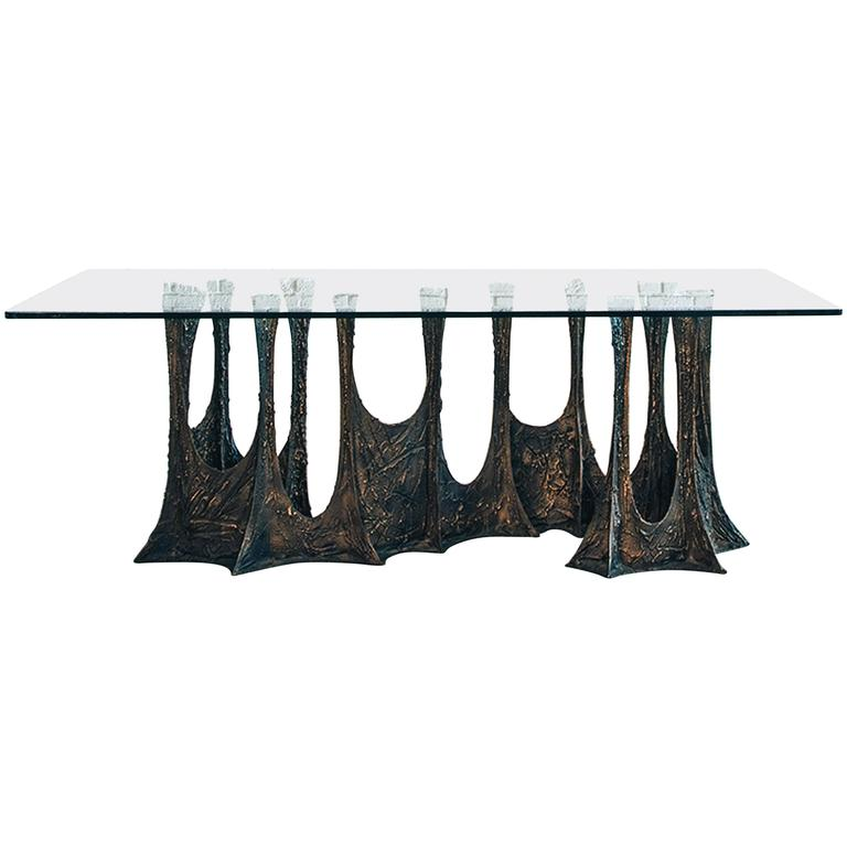 Paul Evans Signed 'PE69' Sculpted Metal Dining Table For Sale