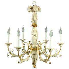 Vintage Italian Carved Wood Parcel Gilt Six-Light Chandelier, 1950
