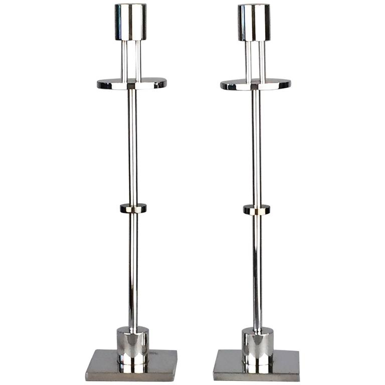 Candlesticks by Ettore Sottsass for Swid Powell, Signed Pair For Sale