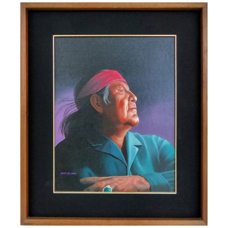 20th Century Southwestern Native American Portrait by Jeff St. John