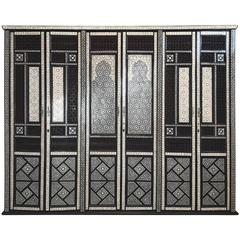 1930s Middle Eastern Bone and Mother-of-Pearl Lacquered Inlay Armoire