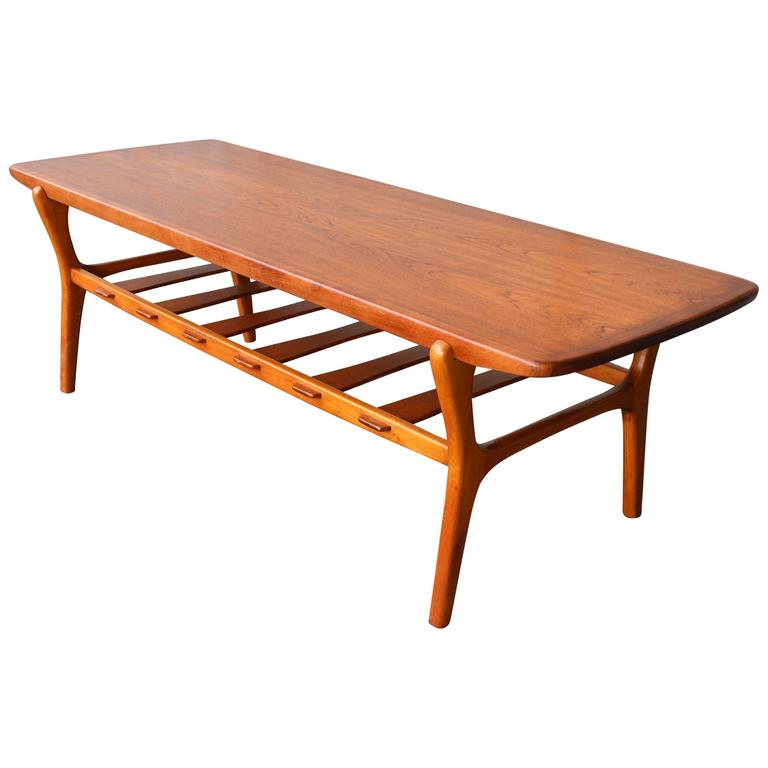 Teak Coffee Table With Birch Base And Slat Shelf For Sale At 1stdibs