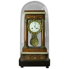 Antique French Empire Mahogany Marquetry and Bronze Portico Vincenti Clock