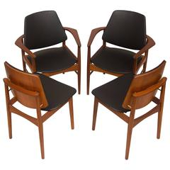 Set Of Four Danish Teak Dining Chairs Arne Hovmand Olsen