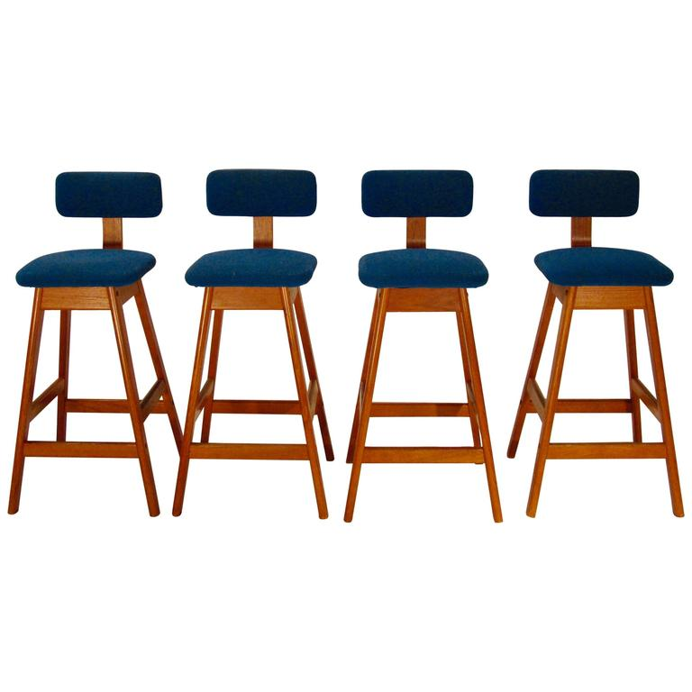 Set Of Four Danish Teak Bentwood Counter Height Barstools