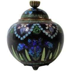 Japanese Meiji Period Miniature Cloisonne Covered Jar