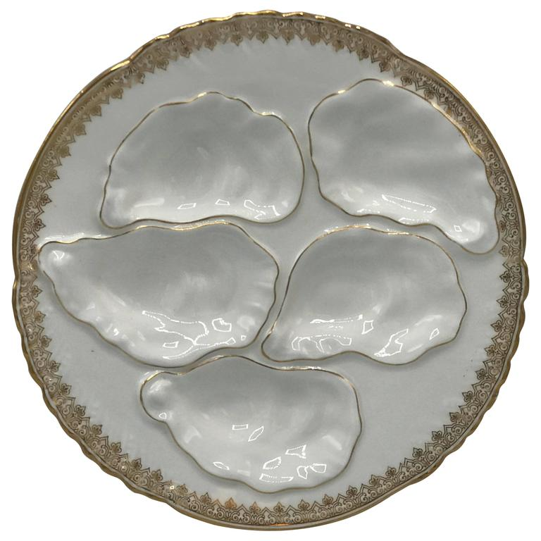 19th Century French Limoges Gilded Oyster Plate