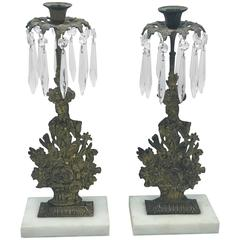 19th Century Brass and Crystal Flower Basket Girondoles on Marble, Pair