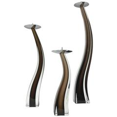 Set of Three Murano Glass Candlesticks by Giuliano Tosi for Oggetti, Italy
