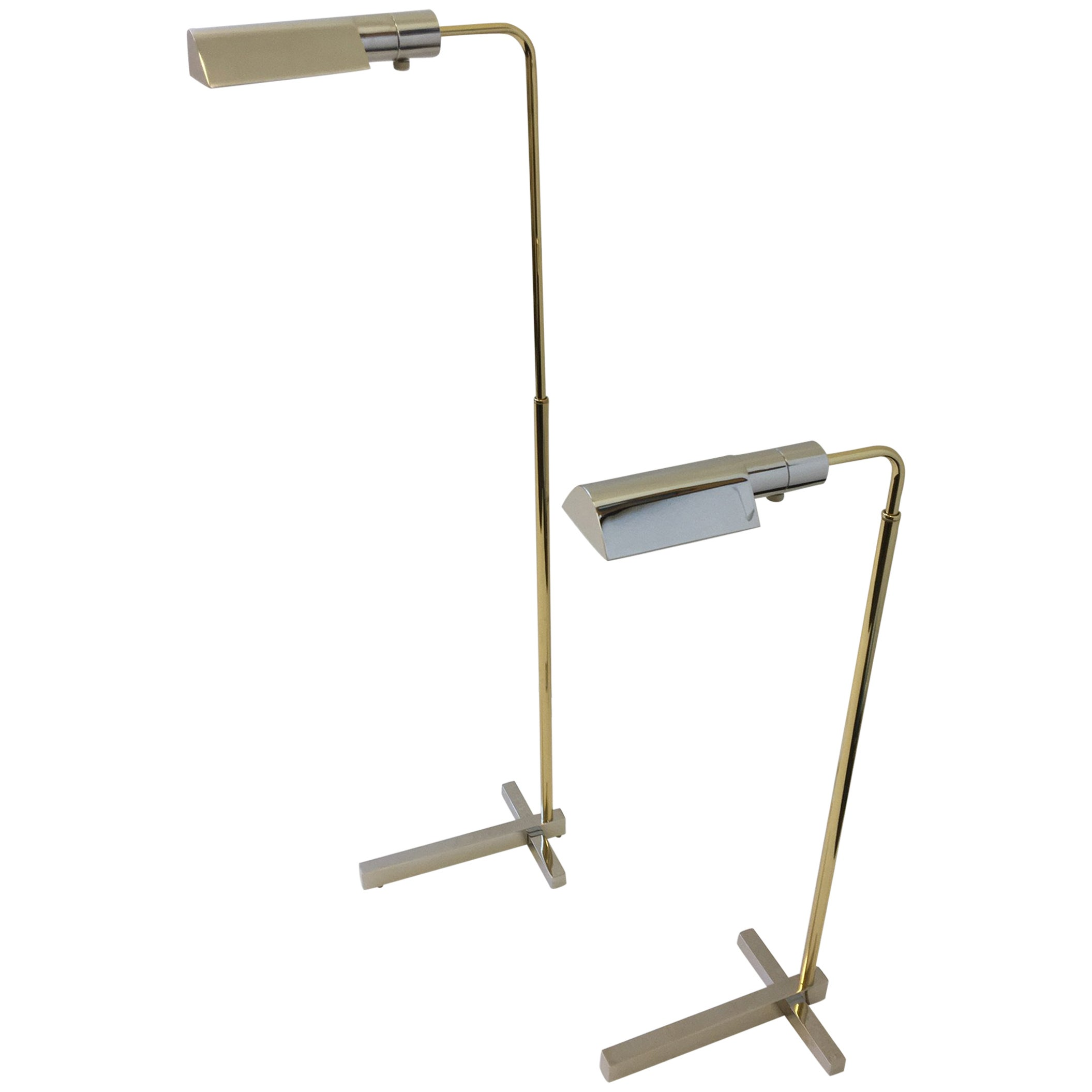 Pair of Nickel and Brass Adjustable Floor Lamps by Casella