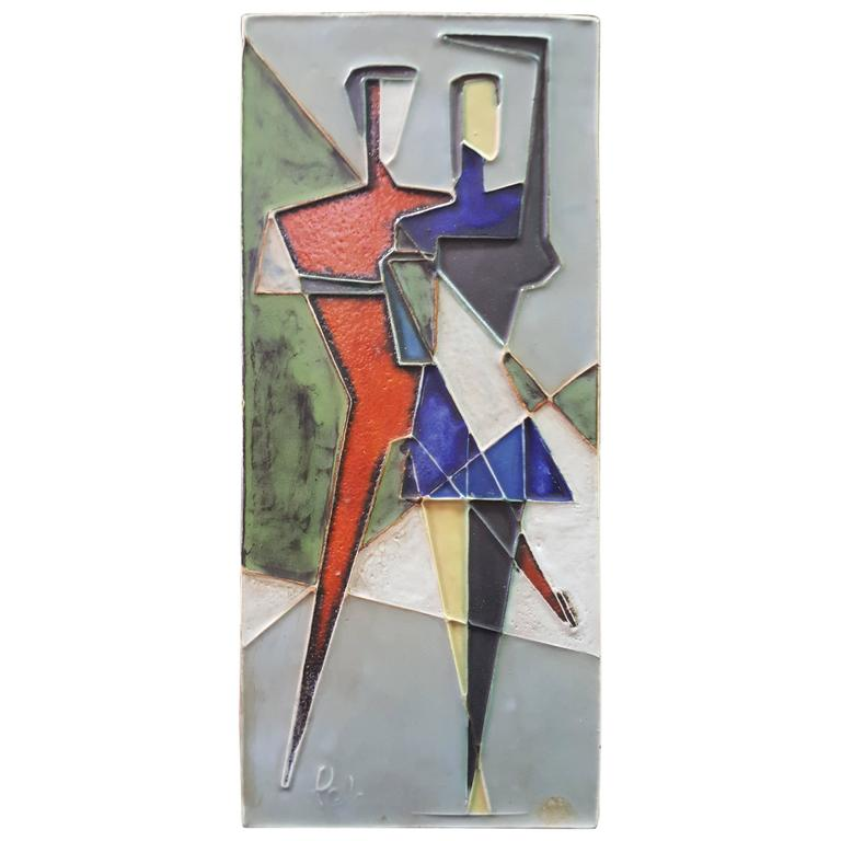 Helmut Schaffenacker Cubist Ceramic Wall Art Plaque For Sale