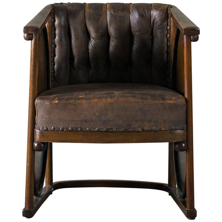 Kolomon Moser or Josef Hoffman Armchair Beechwood, Marquetry and Leather, 1907