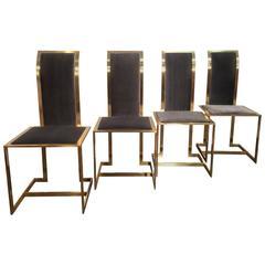Mid-Century Italian Brass and Velvet Dining Chairs