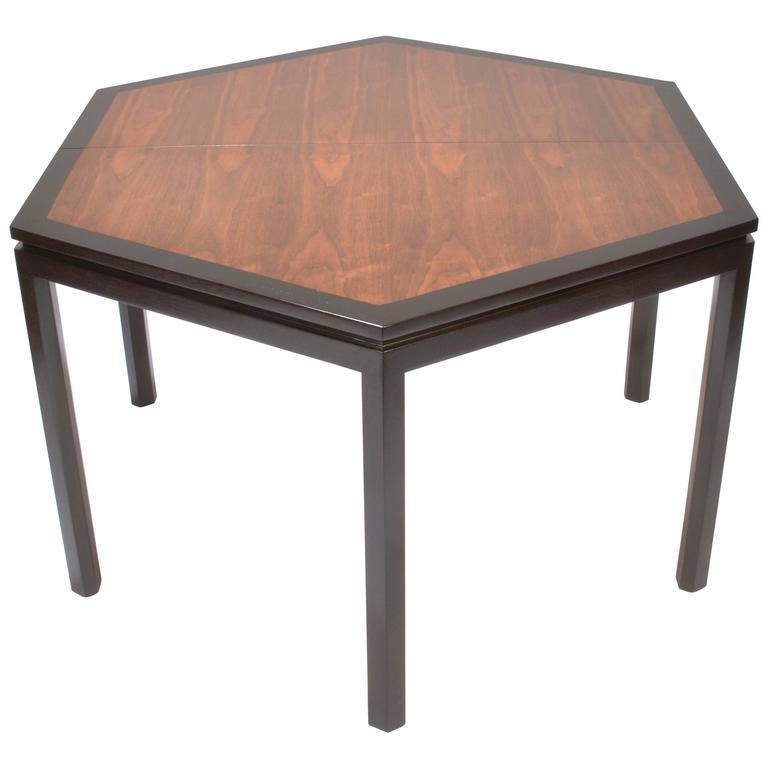Edward Wormley for Dunbar Hexagonal Mahogany and Walnut Dining Table