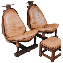 Pair of Brazilian Chairs and Ottoman
