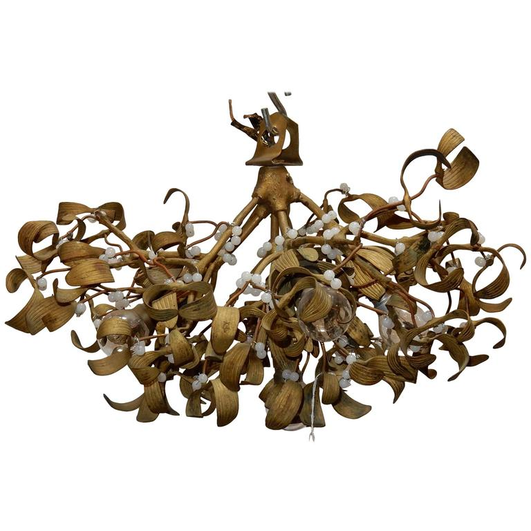 1900 Ball of Mistletoe Art Nouveau Bronze Has five Bulbs and Pearls Opaline