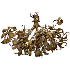 1900 Ball of Mistletoe Art Nouveau Bronze Has five Bulbs and Pearls Opaline