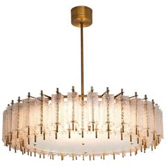 Extra Large Chandelier in Structured Glass and Brass