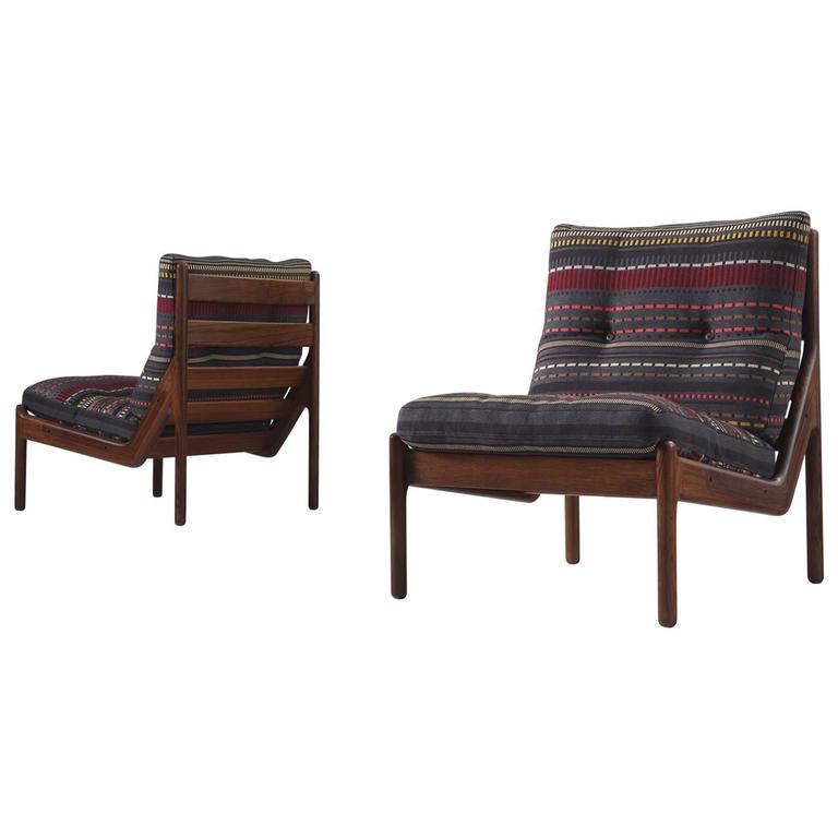 Illum Wikkelsø Chairs Reupholstered With Paul Smith Fabric For Sale