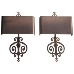 1970s Stainless Steel Pair of Sconces by Maison Charles
