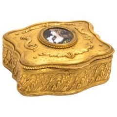 19th Century Gilt Bronze Jewellery Casket & Limoges Miniature