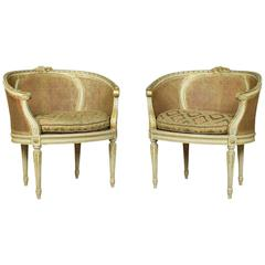 Pair of French Louis XVI Style Tub Armchairs