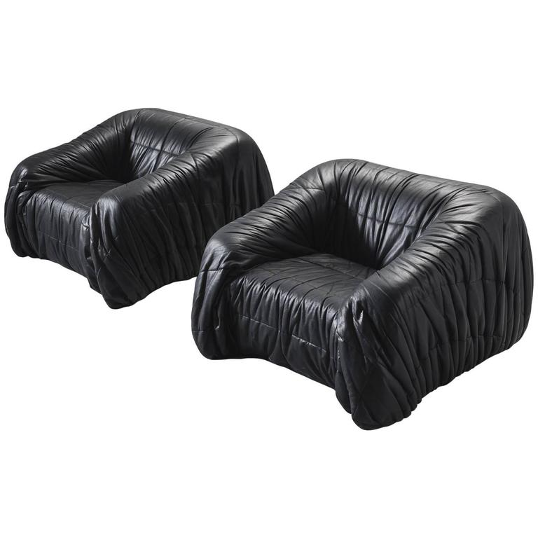 De Pas, D'urbino and Lomazzi Club Chairs in Leather